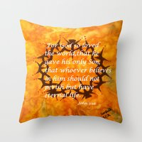 religious Throw Pillows featuring John 3:16 Religious Abstract Art by Saribelle Rodriguez  by Saribelle Inspirational Art