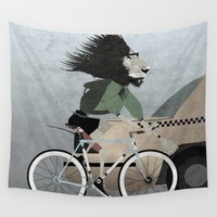 bicycles Wall Tapestries featuring Alleycat Races by Wyatt Design