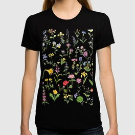 botanical colorful countryside wildflowers watercolor painting T-shirt