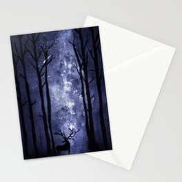 Deer in mid-night winter woods Stationery Cards