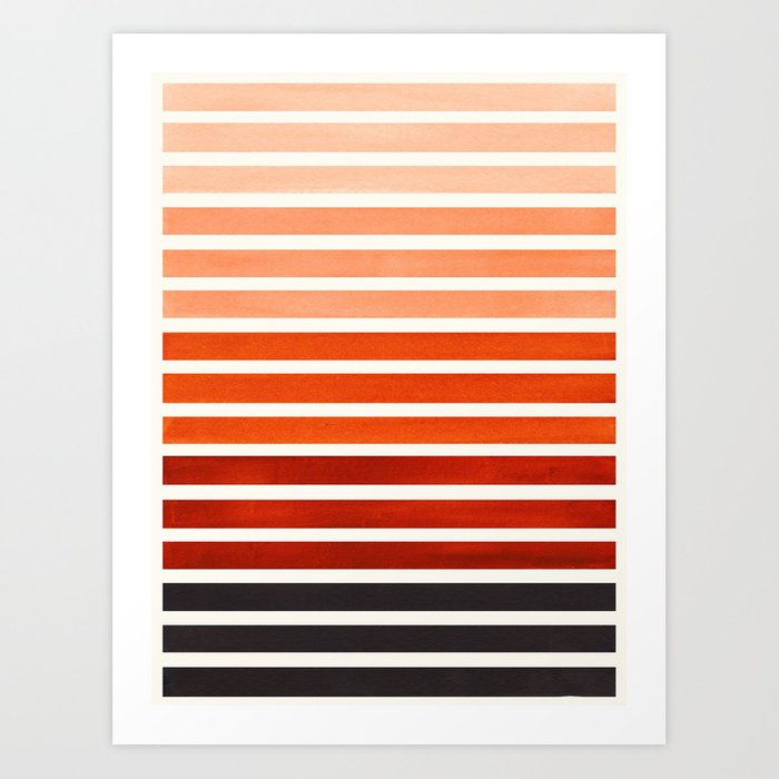 Watercolor Gouache Mid Century Modern Minimalist Colorful Burnt Sienna Stripes Kunstdrucke