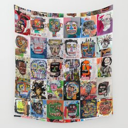 Basquiat Faces Montage Wall Tapestry