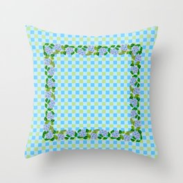 Blue Flowers on Multicolor Check Throw Pillow