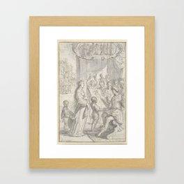 Campaspe standing with her portrait for Alexander the Great, Adriaen Pietersz. van de Venne, 1600 - Framed Art Print
