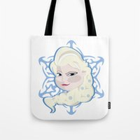 frozen elsa Tote Bags featuring FROZEN, Elsa  by nathan wellman