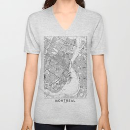Montreal White Map Unisex V-Neck