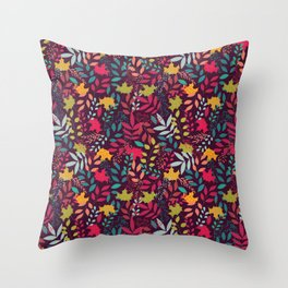 Autumn seamless pattern with floral decorative elements, colorful design Throw Pillow