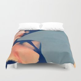 Portrait Of Young Woman With Large Eyes Duvet Cover