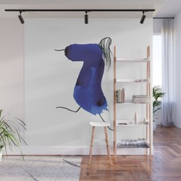 How to be a girl #8 -minimalist girl in bright blue ink Wall Mural