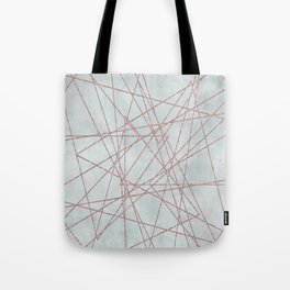 Rose Gold Glitter Line Art On Teal Tote Bag