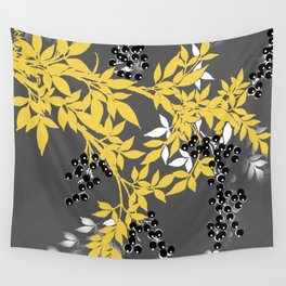 TREE BRANCHES YELLOW GRAY  AND BLACK LEAVES AND BERRIES Wall Tapestry