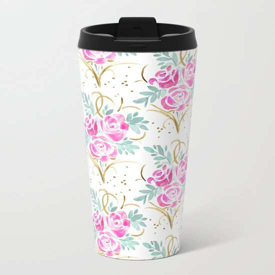 Pink Rosé Splendor Metal Travel Mug