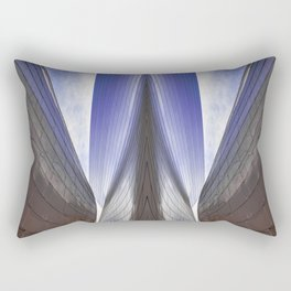 Architectural abstract of a metal clad building looming in symmetry. Rectangular Pillow