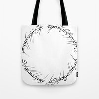 lotr Tote Bags featuring The One Ring (Inscription) by eeyebrows