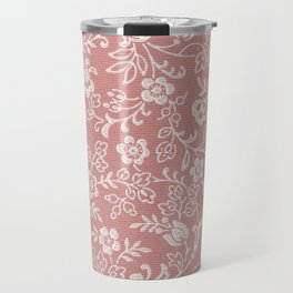 Mauve Rose Antique Floral Wallpaper Design Travel Mug