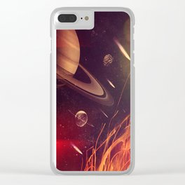 Space Fire Clear iPhone Case