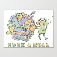 katamari Canvas Prints featuring Katamari Rock & Roll by vonplatypus