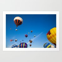 hot air balloons Art Prints featuring Vibrant Hot Air Balloons by Nicolas Raymond