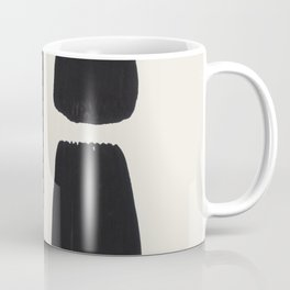 Mid Century Modern Minimalist Abstract Art Brush Strokes Black & White Ink Art Square Shapes Coffee Mug