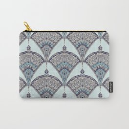 Deco Doodle in Aqua, Cream & Navy Blue Carry-All Pouch