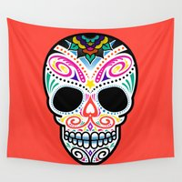 mexican Wall Tapestries featuring Mexican Skull by Blank & Vøid