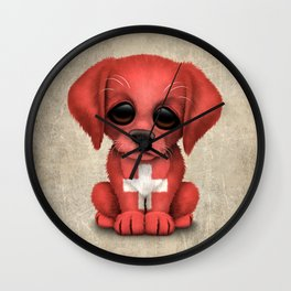 Cute Puppy Dog with flag of Switzerland Wall Clock