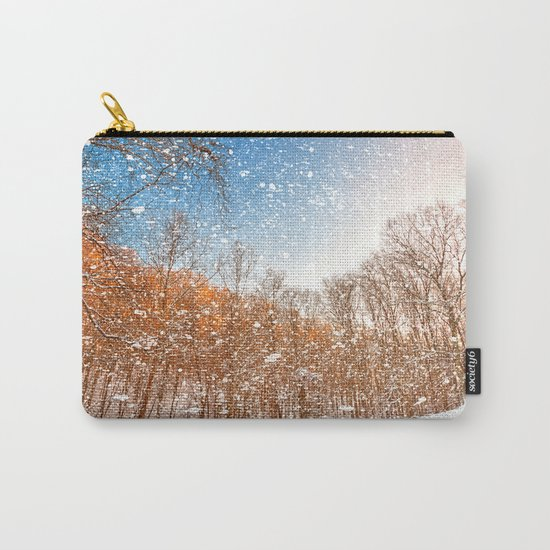 Snow Spattered Winter Forest Carry-All Pouch
