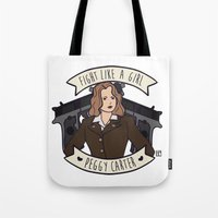 peggy carter Tote Bags featuring Fight Like a Girl - Peggy Carter by Kaol