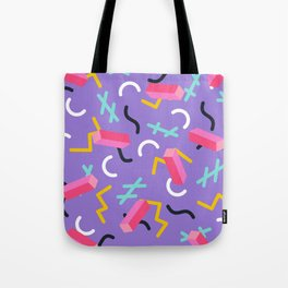 Purple Memphis Pattern Tote Bag