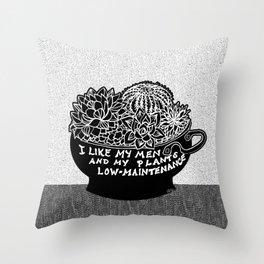 Lo-Maintenance Men & Cacti Black and White Trendy Illustration Throw Pillow
