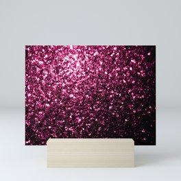 Beautiful Dark Pink glitter sparkles Mini Art Print