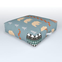 Reindeer and bears- winter decor Outdoor Floor Cushion