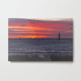 Sunset at Frankfort Light | Traverse City, Michigan | John Hill Metal Print