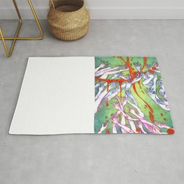 The Reach - Dark Energy / Surreal Wall Art / Fine Art Painting - Teal, Pink, Red Rug