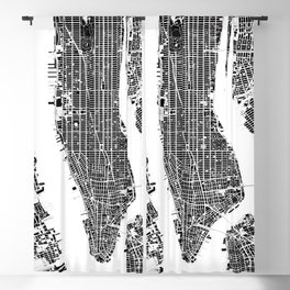 New York city map black and white Blackout Curtain