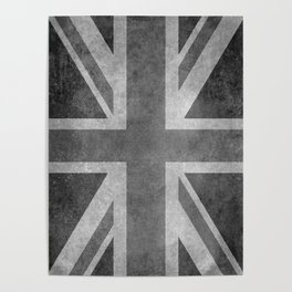 British Union Jack flag 1:2 scale retro grunge Poster