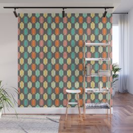Midcentury Hexagon Argyle on Grey Wall Mural
