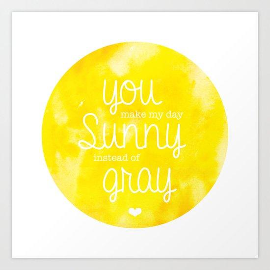 Bright yellow summer sun typography Art Print