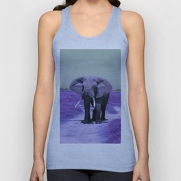 African Bull Elephant in Purple Unisex Tank Top