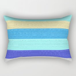 Ocean Blue Painter's Stripes Rectangular Pillow