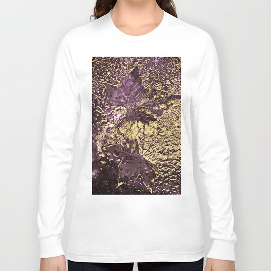 Purple leaves in melted gold Long Sleeve T-shirt
