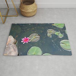 Pink Lotus Bloom in Pond Rug