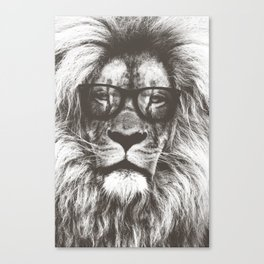 Lion in glasses Canvas Print