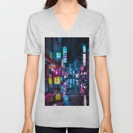 Cyberpunk Aesthetic in Tokyo at Night Vertical Unisex V-Neck