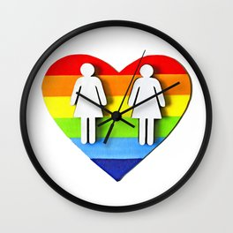 LGBT, Gay and Lesbian Quotes, Designs of Rainbows Flags and Hearts (11) Wall Clock