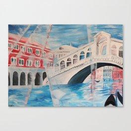 Enlighted Rialto bridge in Venice Canvas Print