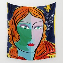Une étoile dans la nuit French Pop Girl Art Decoration Wall Tapestry