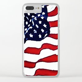 Flag - US Flag - American Flag Blowing in the Wind Clear iPhone Case