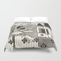 spanish Duvet Covers featuring Spanish Courtyard by Pooja Goel
