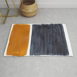 Minimalist Mid Century Modern Colorful Color Field Rothko Navy Blue Yellow Ochre Rug